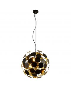 Suspension BUBBLE en métal noir intérieur doré