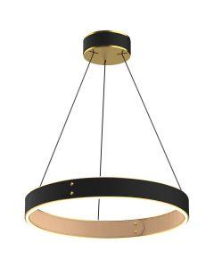 Suspension LED LEATH en cuir noir et aluminium doré-1-image-2005960