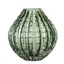 Vase LOTUS en verre nervuré vert