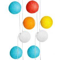 Guirlande 20 boules ENFANT en tissu coton multicolore