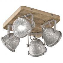 Plafonnier 4 spots OLD en zinc antique et bois