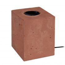 Pied de lampe cube BET en béton rouge