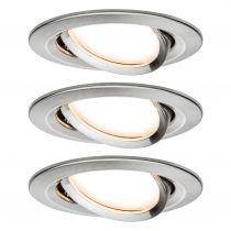 Spots x3 LED encastrables et orientables NOVA en acier brossé