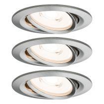 Spots x3 LED encastrables et orientables PRENIUM en aluminium brossé