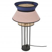 Lampe à poser SINGAPOUR en lin lavé rose et bleu indigo