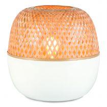 Lampe à poser MEKONG en bambou naturel et blanc