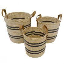 Set de 3 paniers BASK en corde naturelle rayée noir