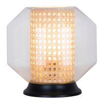 Lampe à poser CANE en verre, cannage naturel et métal noir