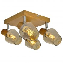 Plafonnier 4 spots GEAI en métal effet bois naturel et verre ambré