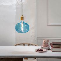 Ampoule déco filament LED E27 BODEN en verre bleu Ø22cm