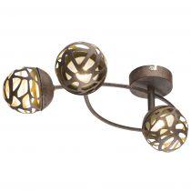 Plafonnier 3 spots LED OHIO en métal couleur rouille