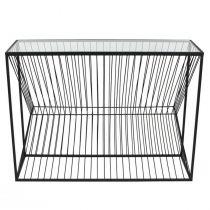 Console LINEO en métal noir mat et verre transparent