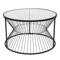 Table basse LINEO en métal noir mat et verre transparent