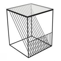 Bout de canapé carré LINEO en métal noir mat et verre transparent