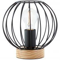 Lampe à poser SORANA en métal noir et bois naturel