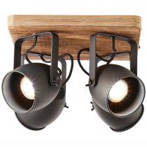 Plafonnier 4 spots CROWTON en métal noir et bois naturel