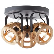 Plafonnier 3 spots MATRIX en métal noir et bois naturel