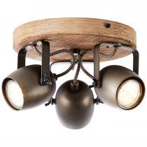 Plafonnier 3 spots TOOL en métal noir et bois naturel