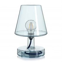 Lampe à poser LED TRANSLOETJE en polycarbonate bleu transparent