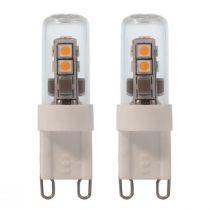 Lot de 2 ampoules LED G9 en verre transparent