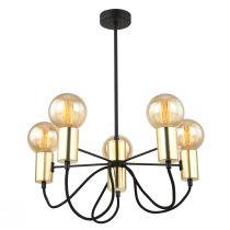Lustre design CANDLE (5x60W) en métal noir et doré