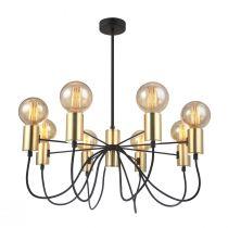 Lustre design CANDLE (8x60W) en métal noir et doré
