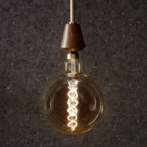 Ampoule déco filament LED XXL E27 MEGAGLOBE en verre ambré Ø20cm