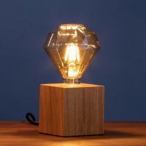 Ampoule déco filament LED E27 DIAMANT en verre ambré Ø11cm