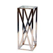 Bout de canapé MATHIAS argentée en métal et verre