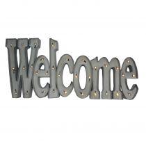 Tableau WELCOME en métal blanc