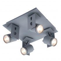 Plafonnier spot ALTEA gris mat en métal