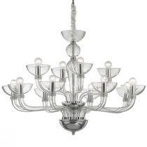 Lustre design 12 ampoules CASANOVA transparent en métal et verre