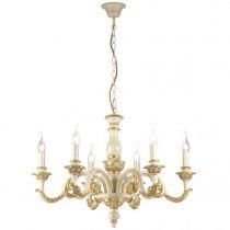 Lustre classique 6 ampoules GIGLIO doré en métal