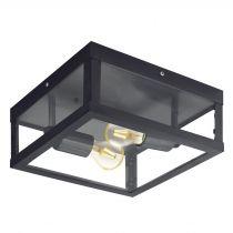 Plafonnier extérieur industriel 2 ampoules ALAMONTE 1 noir en métal
