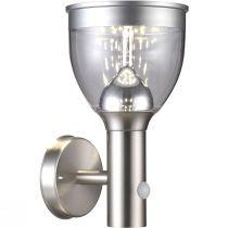 Applique extérieur Led à détecteur SOLAIRE métal argentée en métal