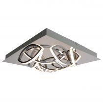 Plafonnier Led design dimmable BOW argenté en métal et acrylique