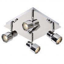Plafonnier 4 spots Led orientables SIRENE-LED argenté en métal