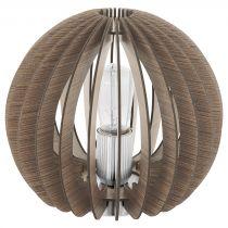 Lampe boule ajourée COSSANO bois clair en métal